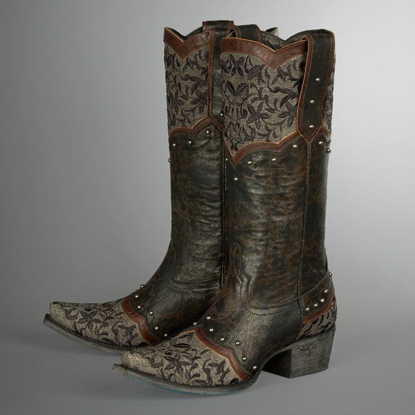Kimmie Cowboy Boot in Black and Brown by Lane Boots