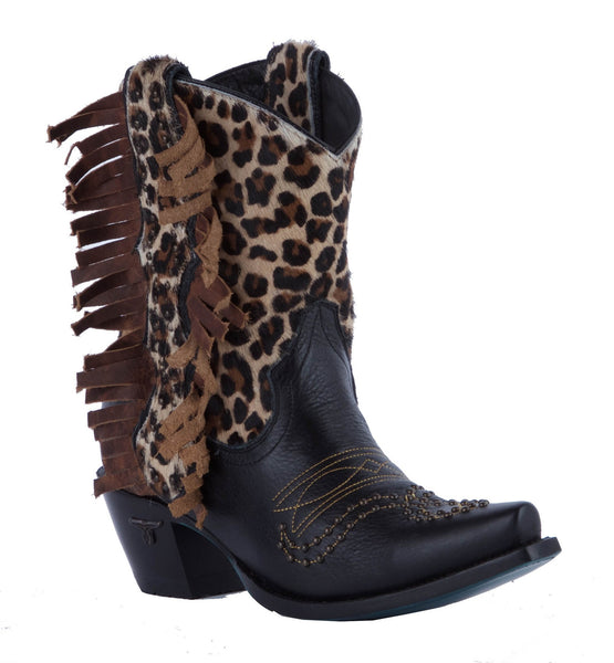 Olivia Cowboy Boot in Black and Cheetah by Lane Boots