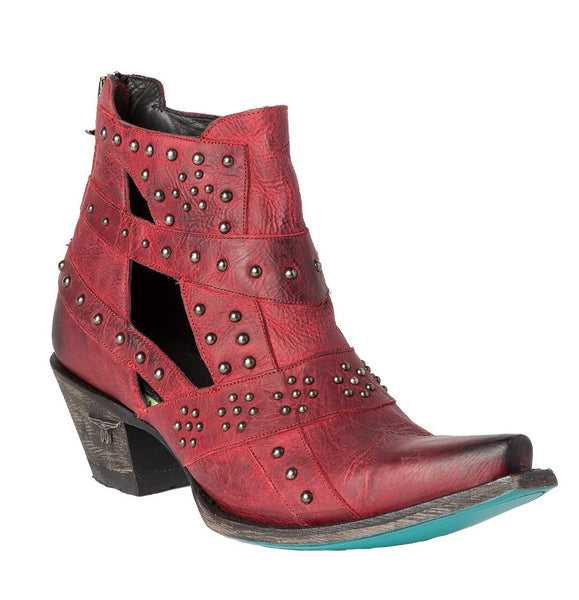Studs & Straps Cowboy Boot in Red by Lane Boots