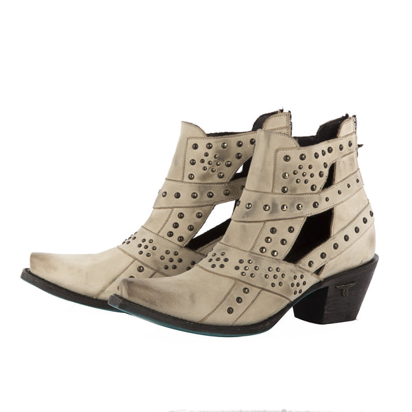 Studs & Straps Cowboy Boot in Bone by Lane Boots