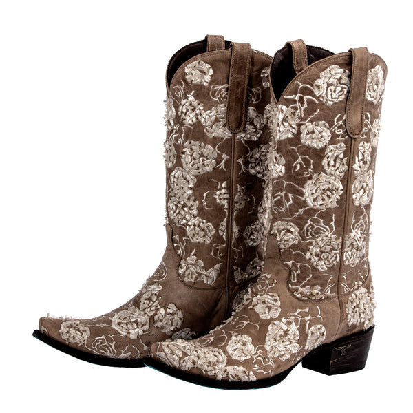 Wild Rose Cowboy Boot in Taupe by Lane Boots