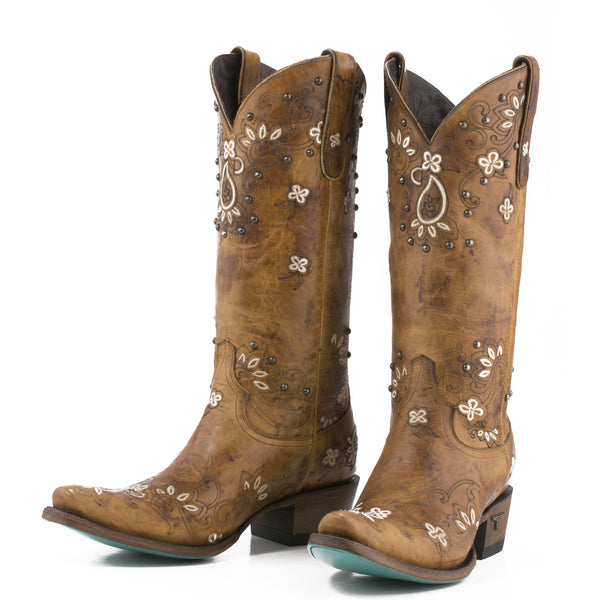 Sweet Paisley Cowboy Boot in Tan by Lane Boots