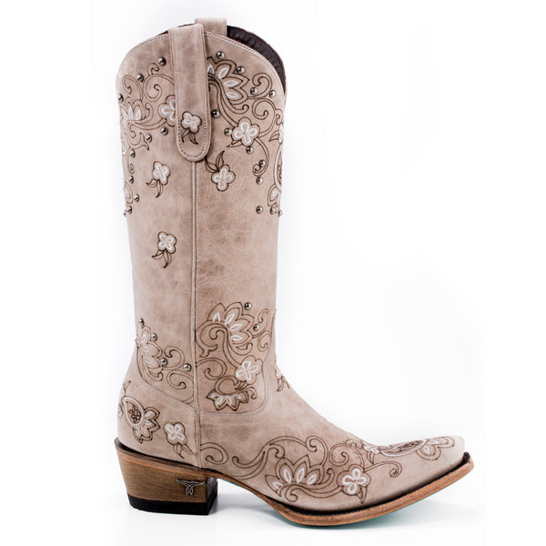 Sweet Paisley Cowboy Boot in Bone by Lane Boots