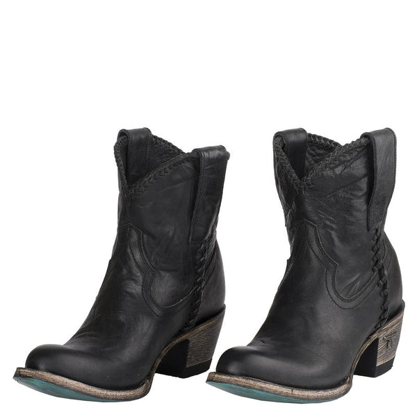 Plain Jane Shortie Cowboy Boot in Charcoal by Lane Boots