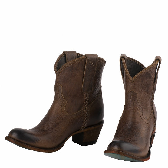 Plain Jane Shortie Cowboy Boot in Cognac by Lane Boots