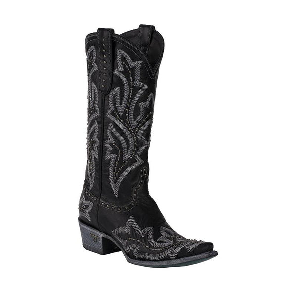 Saratoga Stud Cowboy Boot in Black (by Lane Boots)