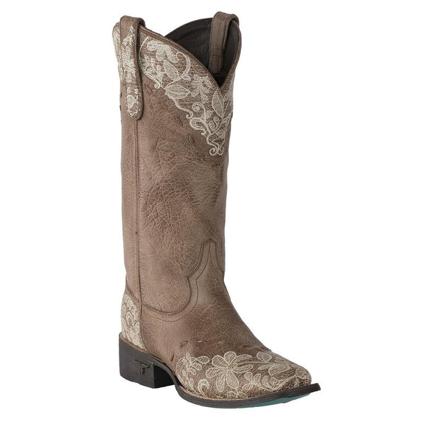 Jeni Lace Square Toe Cowboy Boot in Brown by Lane Boots
