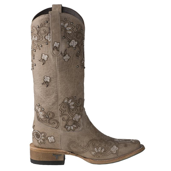 Sweet Paisley Square Toe Cowboy Boot in Bone by Lane Boots
