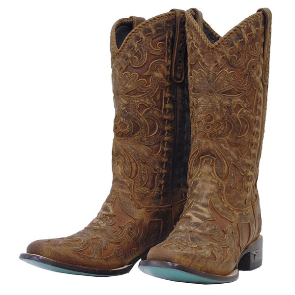 Robin Square Toe Cowboy Boot in Cognac by Lane Boots