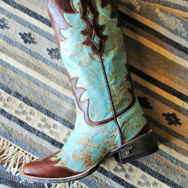 Diamond Dust Square Toe Cowboy Boot in Turquoise by Lane Boots