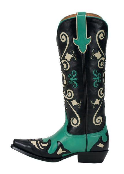 Margaret Cowboy Boot - Turquoise & Black by Lane Boots