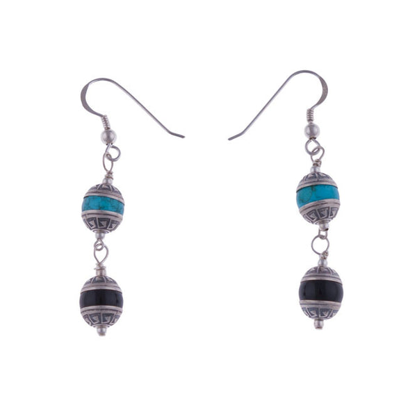Aztec Tier Turquoise and Onyx Earrings by Laura Ingalls Designs