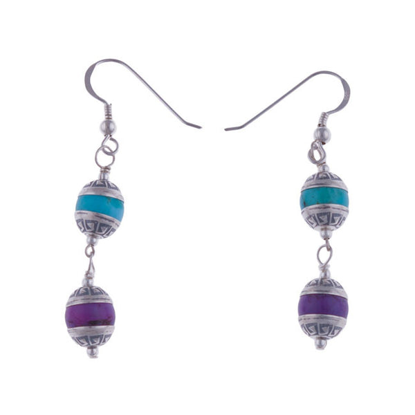 Aztec Tier Blue and Purple Turquoise Earrings by Laura Ingalls Designs
