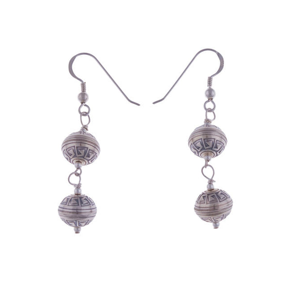 Aztec Tier Silver Earrings by Laura Ingalls Designs