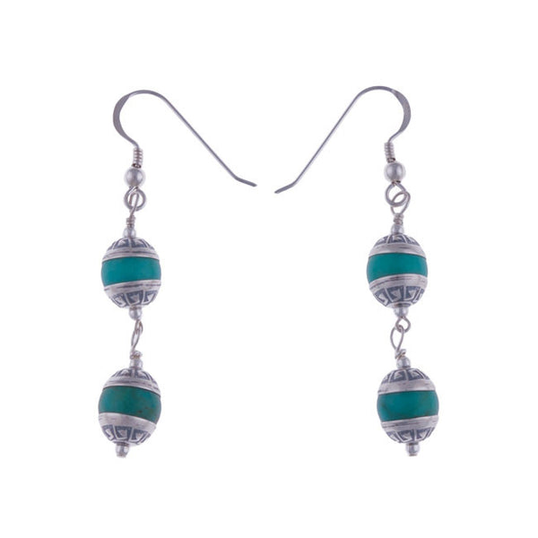 Aztec Tier Turquoise Earrings by Laura Ingalls Designs