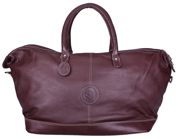 Hamptons Weekender Duffle in Dark Brown by Lilo Collections