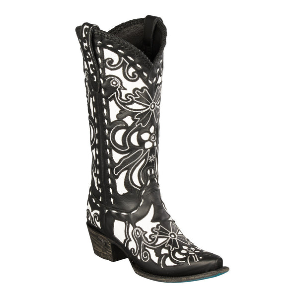 Robin Cowboy Boot in Black and White by Lane Boots