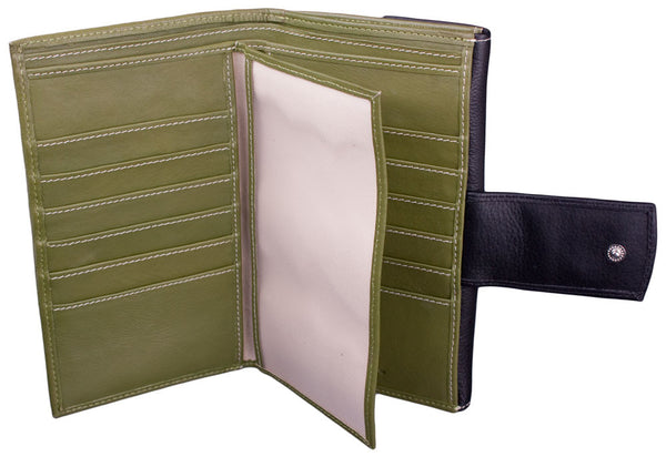 Lilo Checkbook Wallet in Green by Lilo Collections