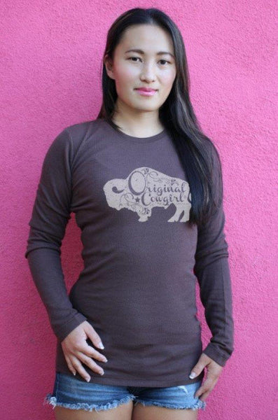 Buffalo Gal Thermal Tee Shirt in Espresso by Original Cowgirl Clothing Co.
