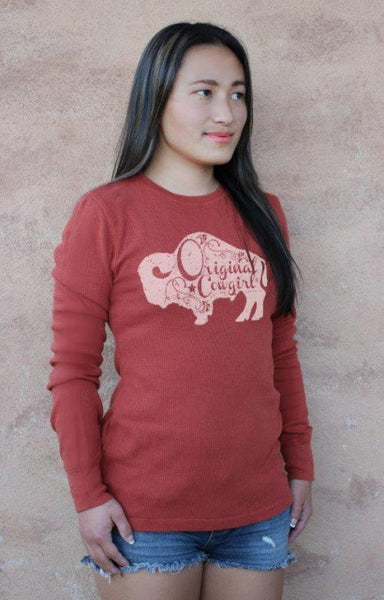 Buffalo Gal Thermal Tee Shirt in Rust by Original Cowgirl Clothing Co.