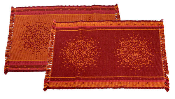 Jacquard Placemats in Burgundy by New World Trading