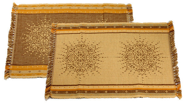 Jacquard Placemats in Honey by New World Trading