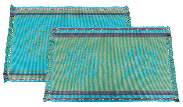 Jacquard Placemats in Turquoise by New World Trading