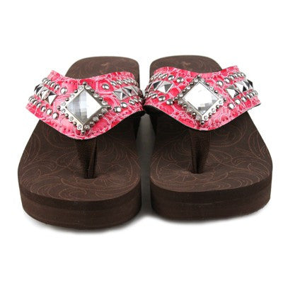 Western Bling Flip Flops in Pink by Montana West
