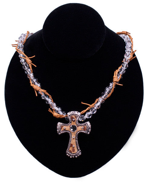 Crystal & Barbed Wire Cross Necklace by Relative Jewelry