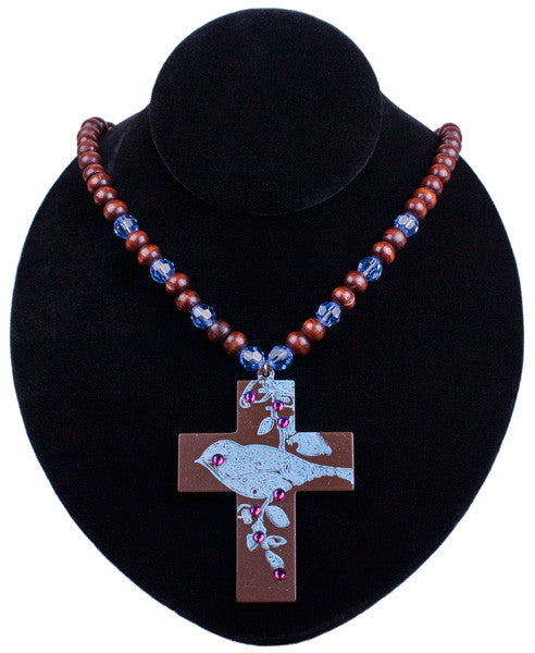 Bluebird Impression Cross Necklace by Relative Jewelry
