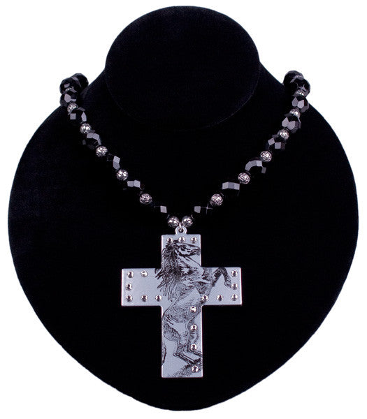 Bronco Impression Cross Necklace by Relative Jewelry