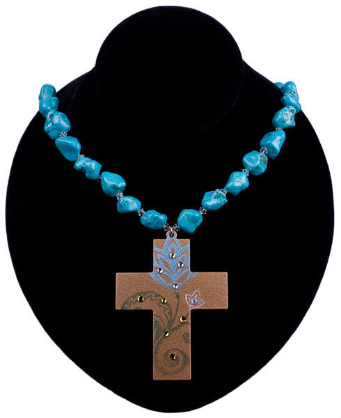 Floral Impression Cross Necklace by Relative Jewelry