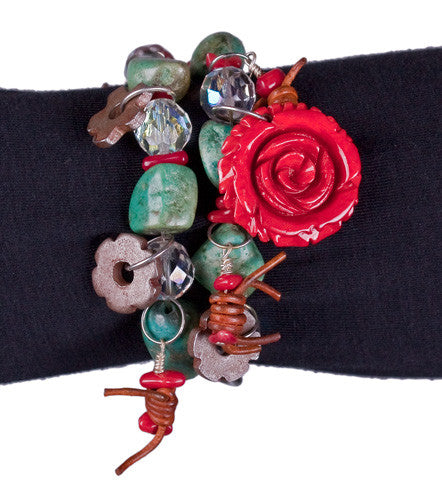Turquoise & Roses Bracelet by Relative Jewelry