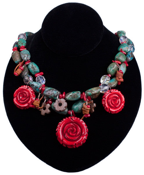 Turquoise & Roses Necklace by Relative Jewelry