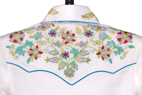 Wildflowers Vintage Embroidered Shirt for Kids by Rockmount Ranch Wear