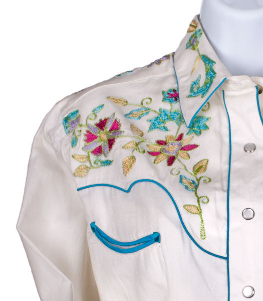 Wildflowers Vintage Embroidered Shirt for Women by Rockmount Ranch Wear