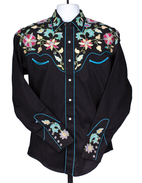 Wildflowers Vintage Embroidered Shirt for Men by Rockmount Ranch Wear