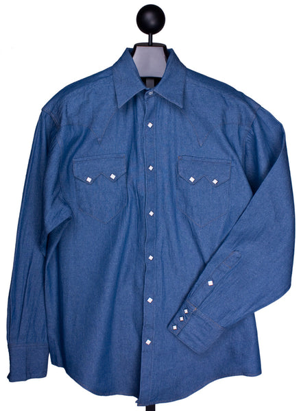 Stonewashed Denim Western Shirt for Men by Rockmount Ranch Wear