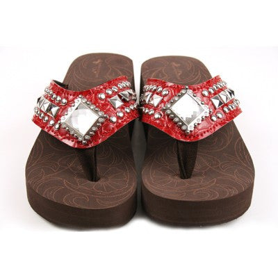 Western Bling Flip Flops in Red by Montana West