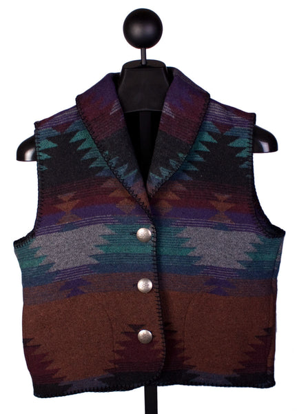 Shawl Collar Vest Purple Pueblo by Rhonda Stark Designs