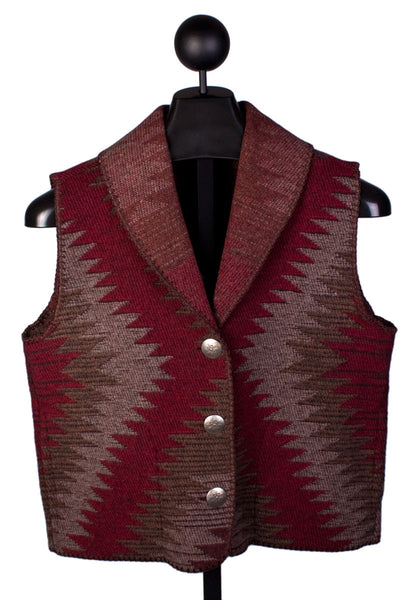 Shawl Collar Vest in Red Tombstone by Rhonda Stark Designs