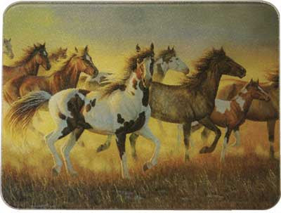 Tempered Glass Cutting Board - Running Horses by River's Edge