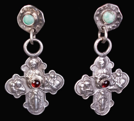 Turquoise and Garnet Cross Earrings by Sweet Bird Studios
