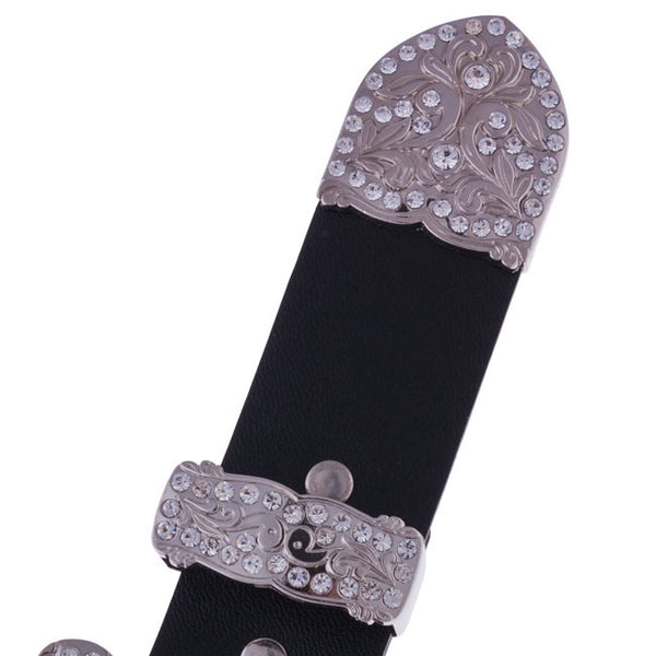 Floral Crystal Belt Buckle Set by Silver Strike