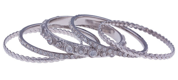Silver Crystal Bangle Set by Silver Strike