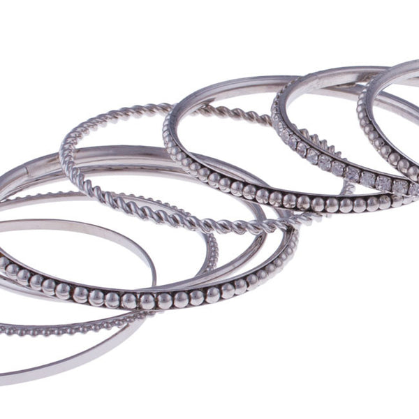 Beaded Silver Bangle Set by Silver Strike