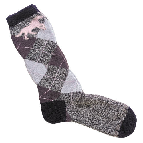 Adult Pink & Grey Argyle Sock by GT Reid