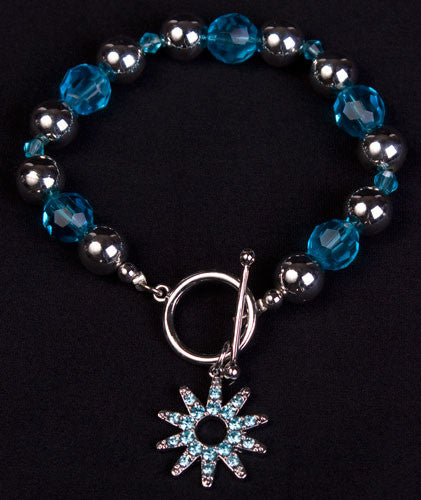 Crystal Spur Rowel Bracelet in Blue by Wyo Horse