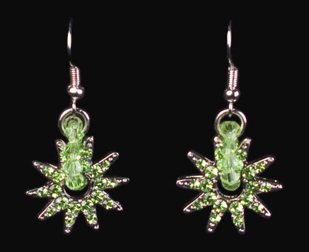 Crystal Spur Rowel Earrings in Green by Wyo Horse
