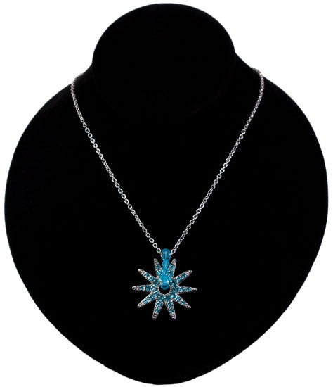 Crystal Spur Rowel Necklace in Blue by Wyo Horse